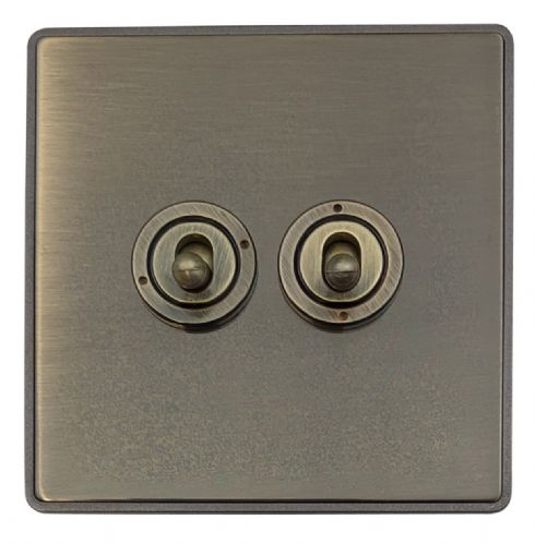 G&H LAB282 Screwless Antique Bronze 2 Gang 1 or 2 Way Toggle Light Switch